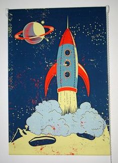 Retro Rocket Roller Blinds from Arty Walls