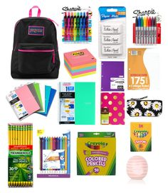 """""""Stuff in my backpack"""" by giselle0801 ❤ liked on Polyvore featuring interior, interiors, interior design, home, home decor, interior decorating, JanSport, Sharpie, Paper Mate and Post-It"""