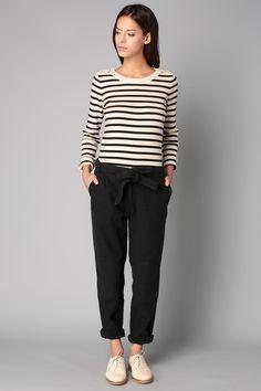 Pantalon noir ceinturé San Miguel