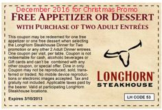 Longhorn Steakhouse coupons & Longhorn Steakhouse promo code inside The Coupons App. Free appetizer or dessert with your entrees at Longhorn Steakhouse May Longhorn Steakhouse Coupons, Dollar General Couponing, Coupons For Boyfriend, Restaurant Coupons, Free Printable Coupons, Free Printables, Love Coupons, Grocery Coupons, Dinner Entrees