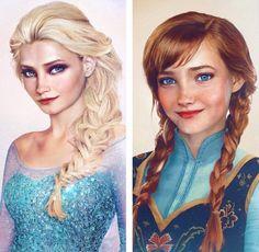 Frozen, Elsa and Anna, Real Life Disney by Jirka Vinse Jonatan Väätäinen Arte Disney, Disney Fan Art, Disney Love, Disney Magic, Disney Frozen, Elsa Frozen Real, Frozen Art, Disney Stuff, Best Disney Movies
