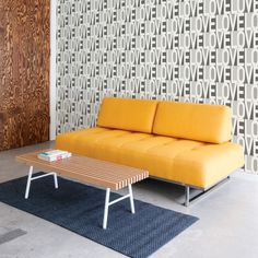 Love Self Adhesive Wallpaper in Greyscale by Bobby Berk for Tempaper