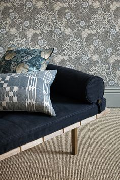 Seaweed wallpaper and Pumpkins Velvet Cushion by Morris & Co...
