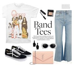 """""""Band Tees - Queen 90s style"""" by antojulia ❤ liked on Polyvore featuring RE/DONE, J.Crew, Yves Saint Laurent, Bobbi Brown Cosmetics, Oscar de la Renta and summer2017"""