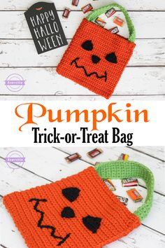 Pumpkin Jack-o-Lantern Trick or Treat Halloween Bag | Free Crochet Pattern from Sewrella