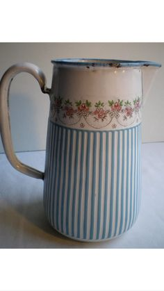 B.B. Freres enamelware pitcher torseine roses (garland of roses) French