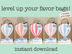 Hot Air Balloon Favor Bags Up Up Away Favor Bags Hot Air