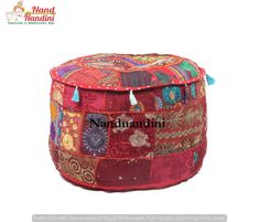 Indian Hippie Bohemian Handmade Patchwork Pouf Floor Cushion Seating Ottoman #Handmade #Traditional #OttomanCoverPoufCoverFootstoolCover