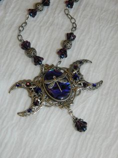 Dragonfly Triple Moon Goddess necklace - SOLD!