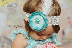 Baby Girl Headband - Turquoise Headband - Feather Headband - Newborn Headband - Infant Headband - Baby Headband - Toddler Headband