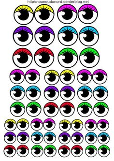 Gommettes yeux et bouches imprimer utilitaires pour la - Oeil a colorier ...