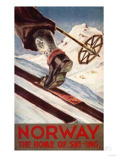 Norway - Home of Ski-ing - Vintage Travel Poster sizes, matte+glossy avail] Ski Vintage, Vintage Ski Posters, Retro Poster, Custom Posters, Vintage Art, Kunst Poster, Poster Prints, Art Prints, Art Posters