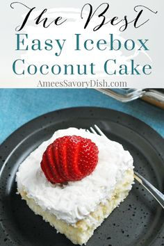 My mother has been making this icebox coconut cake recipe for years. It brings back special memories from my childhood. It's a quick and easy cake recipe made with boxed white cake mix, frozen coconut, whole milk, sugar, eggs, vanilla, and frozen whipped topping. #coconutcake #iceboxcake #easycoconutcake via @Ameecooks Great Desserts, Party Desserts, Healthy Dessert Recipes, Delicious Desserts, Sweets Recipes, Moist Coconut Cake Recipe, Coconut Recipes, Hot Chocolate Fudge, Decadent Chocolate Cake