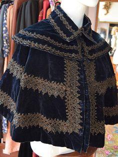 Victorian Midnight Blue Velvet Capelet