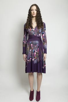 Obi belted, wrap jersey dress with knee length skirt. Material: Jersey Made to Order Aw 2014, Obi Belt, Wrap Style, Fashion Dresses, High Neck Dress, Printed, Skirts, Collection, Fashion Show Dresses