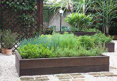 Caixa de ipê com 40 cm de altura abriga salsinha, tomilho (à frente), cebolinha, erva-doce e coentro (ao fundo). A horta confere mais verde ao jardim da casa no Morumbi, São Paulo