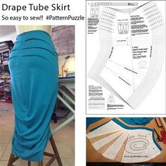 Sewing Patterns PDF You can now download! #DrapeTubeSkirt Sewing Patterns PDF  #PatternPuzzle #SewingPatterns