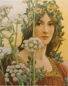 """Elisabeth Sonrel (French, 1874 - """"Our Lady of the Cow Parsley"""" Her paintings were often inspired by Arthurian Romance. In her early years Sonrel produced illustrations in Art Nouveau style. Art And Illustration, Inspiration Art, Pre Raphaelite, Art Moderne, Fine Art, Our Lady, Beautiful Paintings, Female Art, Vintage Art"""
