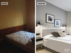 The color has been changed, it is a good neutral gray. The bed is placed so the room looks like you can sleep there, not storage. Small Apartment Decorating, Before After Home, Colorful Furniture, Furniture Decor, Staging Furniture, Furniture, Home Decor, House Interior, Apartment Decor