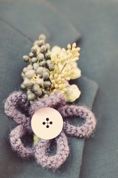 Seeded Eucalyptus, croched flowers and button boutonniere