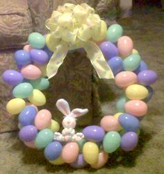 Easter Crafts Pinterest   Easter Egg Wreath   Crochet and Crafts