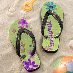 Personalized Girls Flip Flop Sandals - Flowers - 11802