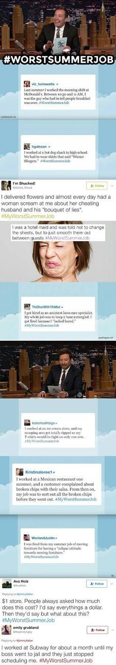 Top 10 Hilarious Tweets About #MyWorstSummerJob ft. Jimmy Fallon