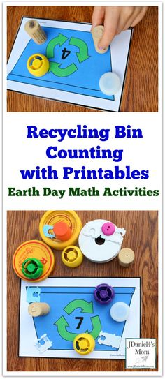 Earth Day Math Activities -Recycling Bin Counting with Printables : Kids will love exploring numbers with small counters. Earth Day Activities for Kids Earth Day Activities, Counting Activities, Science Activities, Toddler Activities, Number Activities, Steam Activities, Spring Activities, Earth Day Projects, Earth Day Crafts