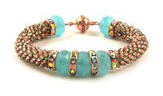 Robin's Egg Bead Crochet Bracelet Instant von AnnBensonBeading
