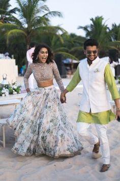 Effortlessly Stylish Wedding In Goa With A Pretty Benarasi Lehenga! Indian Beach Wedding, Indian Wedding Planning, Desi Wedding, Indian Weddings, Indian White Wedding Dress, Goa Wedding, Barn Weddings, Gothic Wedding, Wedding Beauty