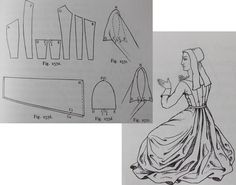 From 'Medieval Costume in England and France, The 13th, 14th and 15th centuries' Mary G Houston.
