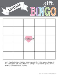 Printable Bridal Shower Gift Bingo Card - Print Right From Home ...
