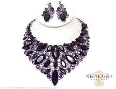 Purple Wedding Jewelry Set, Vintage Inspired Necklace, Rhinestone Necklace, Bridal Necklace, Chunky Necklace, Fashion Jewelry