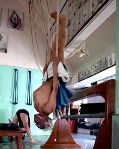 BKS Iyengar Sirsasana from ropes inversion variation at RIMYI, Pune