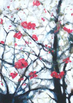 "Saatchi Online Artist: Petra Puž-Novoselec; Acrylic, Painting ""Peach Blossom"""