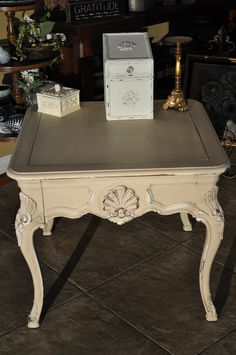 Refurbished  solid wood end table or coffee  table, used Annie Slaon paint Old Ochre