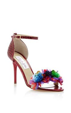 Floral embellished leather sandals by STELLA JEAN Available Now on Moda Operandi