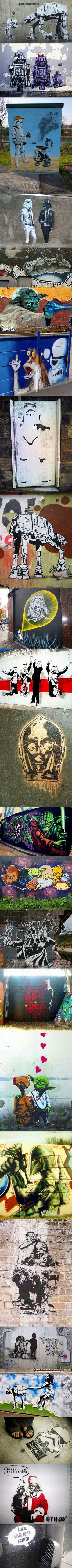 When you let artistic Star Wars fanatics run loose on the streets, you get these urban masterpieces.