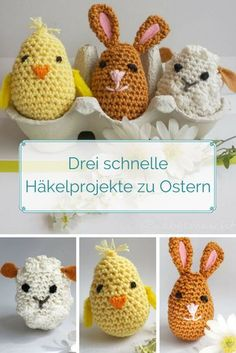 Crochet Easter decoration or gift: chick, rabbit and sheep in egg shape. - Crochet Easter decoration or gift: chick, rabbit and sheep in egg shape. Free instructions on the b - Beginner Knitting Projects, Knitting For Beginners, Crochet Projects, Beginner Crochet, Knitting Patterns, Crochet Patterns, Wire Crochet, Crochet Toys, Easter Crochet