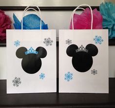 Disney Birthday Party, Minnie Mouse Party, Minnie's Christmas Winter Wonderland Gift bags, Set of 12, Ships in 3-5 Business Days by TootYourHorn on Etsy