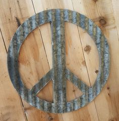 Up-cycled old Corrugated Metal Peace Sign