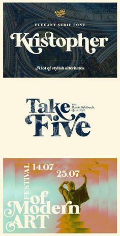 Kristopher - Kristopher, Elegant serif with contrast lines and balanced curves. A lot of stylish alternates. Graphic Design Fonts, Typographic Design, Lettering Design, Sans Serif, Serif Font, Script, Restaurant Poster, Music Web, Bold Fonts