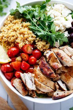 Balsamic Chicken Salad with Lemon Quinoa | cafedelites.com