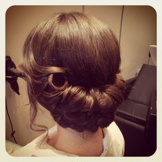 Vintage hair up for wedding hair by Tomlinson hairdressing