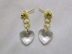 Simple Heart Earrings,White Heart Earrings, Crystal Heart Earrings, Post Earrings by VintagePlusCrafts on Etsy