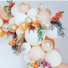 Anniversary party decor Orange, white, dusty rose, silvery balloon garland or banner to decor your baby birthday party baby shower Balloon Garland, Balloon Decorations, Birthday Decorations, Wedding Decorations, Hanging Balloons, Deco Ballon, Tropical Party, Event Decor, Party Planning
