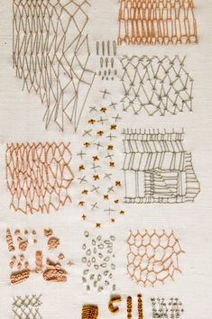 Sketchbook Drawing Constance Howard, net and spot sampler Embroidery Sampler, Embroidery Thread, Cross Stitch Embroidery, Embroidery Patterns, Boro Stitching, Stitching On Paper, Contemporary Embroidery, Modern Embroidery, Textiles Sketchbook
