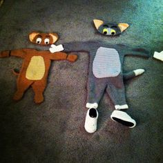 Crochet Tom and Jerry costumes You can find me on Facebook www.facebook.com/cornonthemonkey2013 if you would like to follow me or set up a custom order. I also have a shop on Etsy, just search for corn on the monkey!