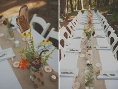 table settings, wedding, burlap table runner