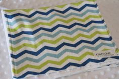 Set of 2 Green and Blue chevron with white by KendraJeanDesigns, $11.00